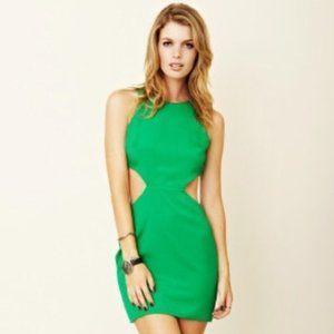 NAVEN Kelly Green Cutout Mini Dress Size Medium